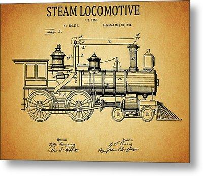 1894 Steam Locomotive Patent Metal Print by Dan Sproul