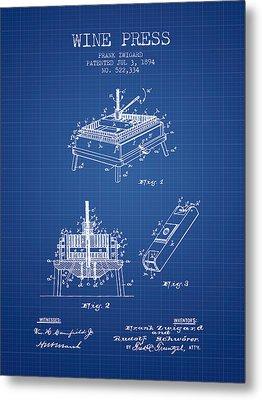 1894 Wine Press Patent - Blueprint Metal Print by Aged Pixel