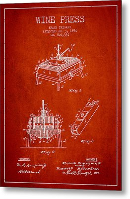 1894 Wine Press Patent - Red Metal Print by Aged Pixel