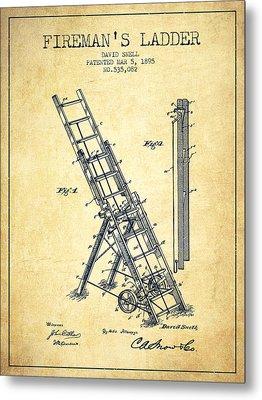 1895 Firemans Ladder Patent - Vintage Metal Print by Aged Pixel