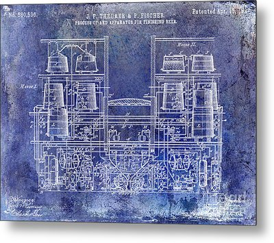 1897 Beer Brewering Patent Blue Metal Print by Jon Neidert