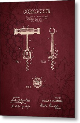 1897 Corkscrew Patent Drawing - Red Wine Metal Print by Aged Pixel