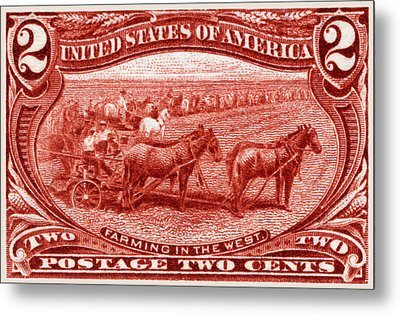 1898 Farming In The West Stamp Metal Print by Historic Image