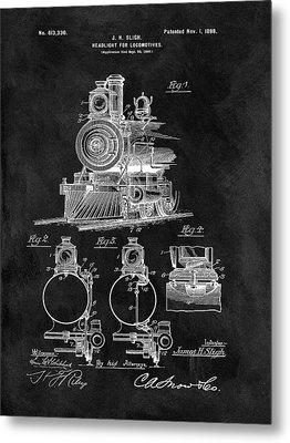 1898 Locomotive Headlight Patent Metal Print by Dan Sproul