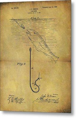 1899 Fish Hook Patent Metal Print by Dan Sproul