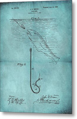 1899 Fishing Hook Patent Blue Metal Print by Dan Sproul