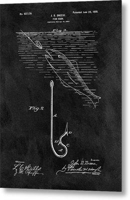 1899 Fishing Hook Patent Metal Print by Dan Sproul