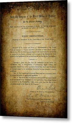 18th Amendment To Constitution - Prohibition Metal Print by Daniel Hagerman