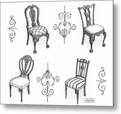18th Century English Chairs Metal Print by Adam Zebediah Joseph