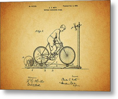 1900 Bicycle Exercise Stand Metal Print by Dan Sproul