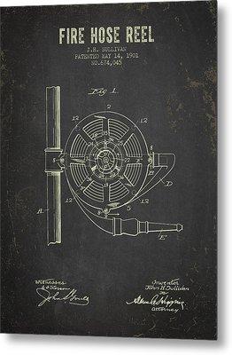 1901 Fire Hose Reel Patent- Dark Grunge Metal Print