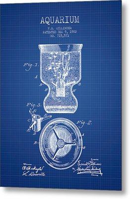 1902 Aquarium Patent - Blueprint Metal Print
