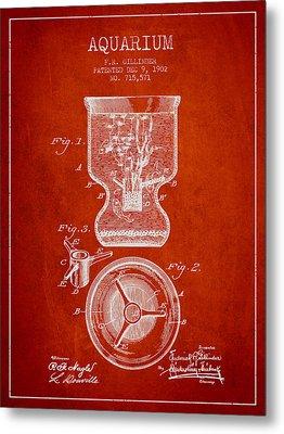 1902 Aquarium Patent - Red Metal Print