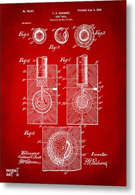 1902 Golf Ball Patent Artwork Red Metal Print
