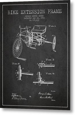 1903 Bike Extension Frame Patent - Charcoal Metal Print by Aged Pixel