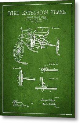 1903 Bike Extension Frame Patent - Green Metal Print by Aged Pixel