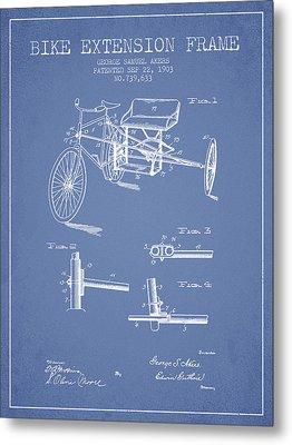 1903 Bike Extension Frame Patent - Light Blue Metal Print by Aged Pixel
