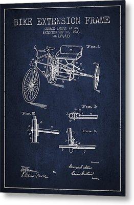 1903 Bike Extension Frame Patent - Navy Blue Metal Print by Aged Pixel