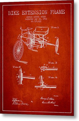 1903 Bike Extension Frame Patent - Red Metal Print by Aged Pixel