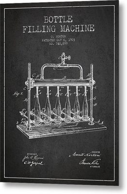 1903 Bottle Filling Machine Patent - Charcoal Metal Print by Aged Pixel