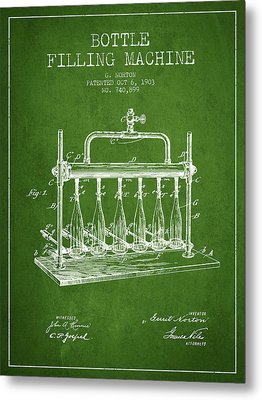 1903 Bottle Filling Machine Patent - Green Metal Print by Aged Pixel