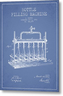 1903 Bottle Filling Machine Patent - Light Blue Metal Print by Aged Pixel
