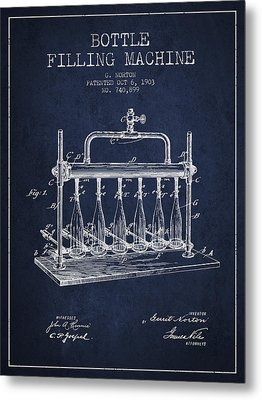 1903 Bottle Filling Machine Patent - Navy Blue Metal Print by Aged Pixel