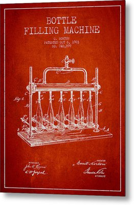 1903 Bottle Filling Machine Patent - Red Metal Print by Aged Pixel