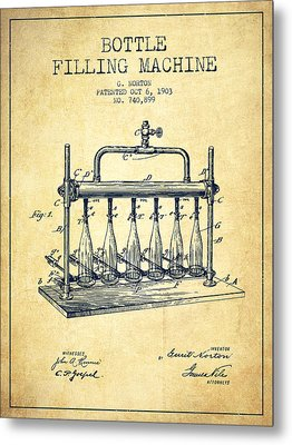 1903 Bottle Filling Machine Patent - Vintage Metal Print by Aged Pixel