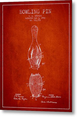 1903 Bowling Pin Patent - Red Metal Print by Aged Pixel