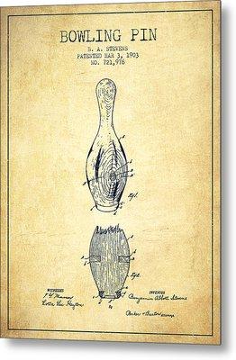 1903 Bowling Pin Patent - Vintage Metal Print by Aged Pixel
