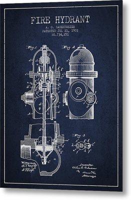 1903 Fire Hydrant Patent - Navy Blue Metal Print