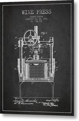 1903 Wine Press Patent - Charcoal Metal Print by Aged Pixel