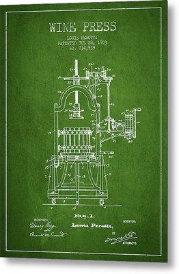 1903 Wine Press Patent - Green 02 Metal Print by Aged Pixel
