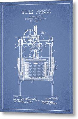 1903 Wine Press Patent - Light Blue Metal Print by Aged Pixel