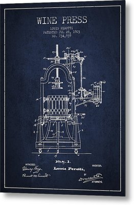 1903 Wine Press Patent - Navy Blue 02 Metal Print by Aged Pixel