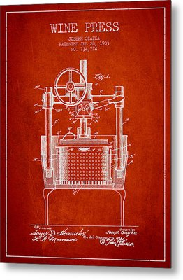 1903 Wine Press Patent - Red Metal Print by Aged Pixel