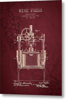 1903 Wine Press Patent - Red Wine Metal Print by Aged Pixel