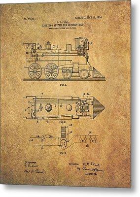 1904 Locomotive Patent Metal Print by Dan Sproul