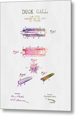 1905 Duck Call Instrument Patent - Color Metal Print by Aged Pixel