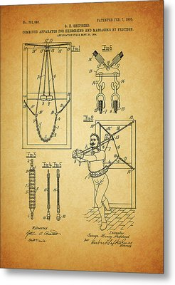 1905 Exercise Apparatus Patent Metal Print by Dan Sproul