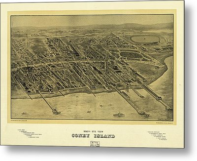 1906 Bird's Eye View Coney Island Metal Print by Dan Sproul