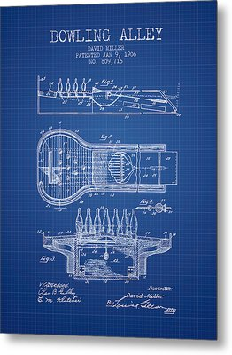 1906 Bowling Alley Patent - Blueprint Metal Print by Aged Pixel