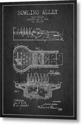 1906 Bowling Alley Patent - Charcoal Metal Print by Aged Pixel