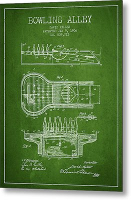 1906 Bowling Alley Patent - Green Metal Print by Aged Pixel