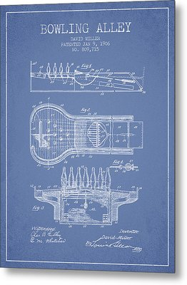1906 Bowling Alley Patent - Light Blue Metal Print by Aged Pixel