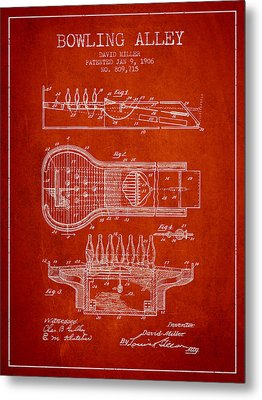 1906 Bowling Alley Patent - Red Metal Print by Aged Pixel
