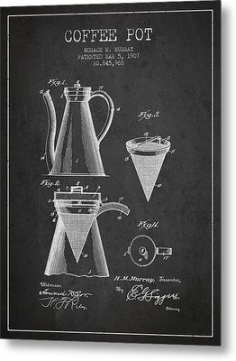 1907 Coffee Pot Patent - Charcoal Metal Print by Aged Pixel
