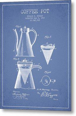 1907 Coffee Pot Patent - Light Blue Metal Print by Aged Pixel