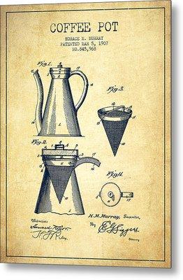 1907 Coffee Pot Patent - Vintage Metal Print by Aged Pixel